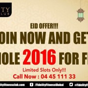 Fidelity Fitness Club 2016 Free Eid Offer Discount Sale UAE