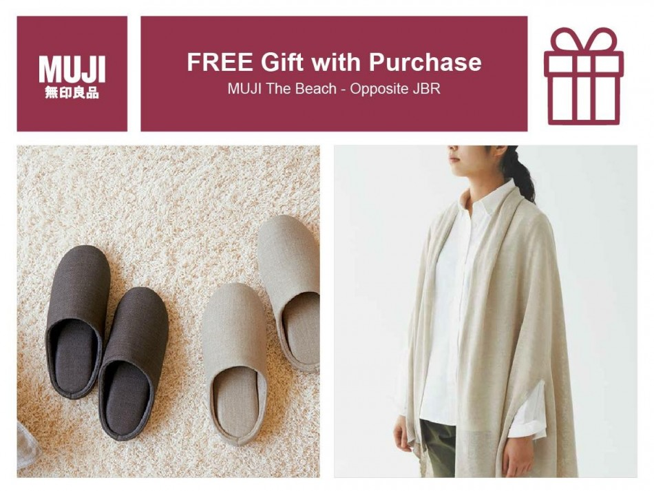 Get a FREE gift with any purchase at MUJI The Beach Discount Sales UAE