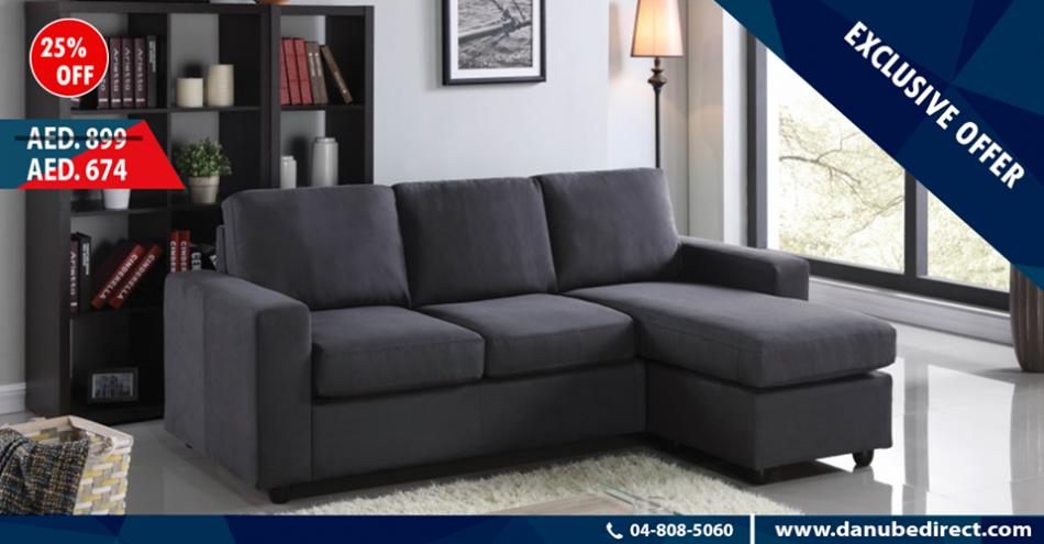 Lara right left reversible corner sofa in grey from danube for Affordable furniture uae