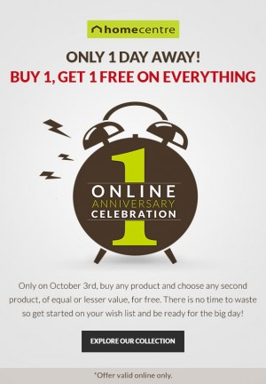 buy 1 get 1 free home centre online anniversary celebration