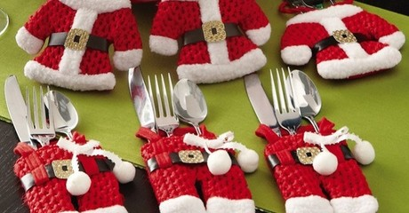 Santa & Snowman Silverware Holder Sets