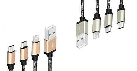 3-in-1 Metal Braided Cable with USB Type-C