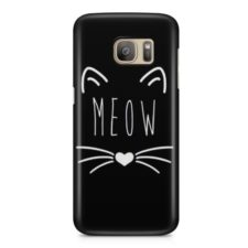 Meow Cat Minimilistic Kitten Luxury Bumper PU Plastic Cover Straight Phone Case for Samsung S7 Edge