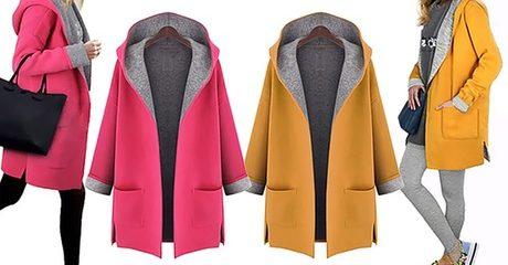 Contrast Hooded Coat