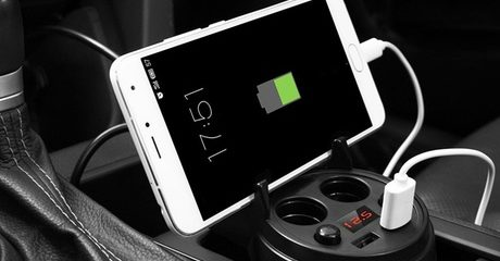 Dual-Port Cup Holder Charger and Cables