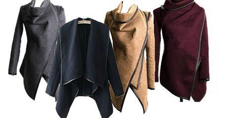 Asymmetric Cowl Neck Coat