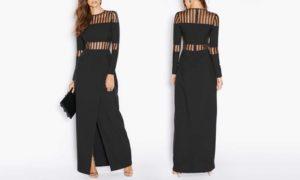 Striped Mesh Wrap Dress