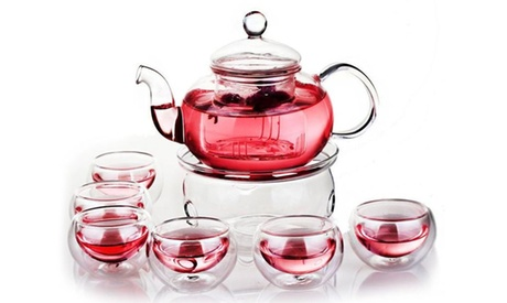 Teapot with six double wall glass tea cups