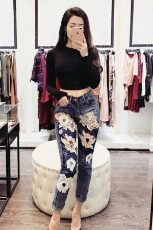 Trendy Flower Jeans