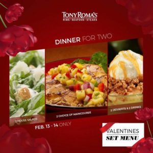 Tony Roma's Dinner for two Valentine's Set Menu Offers