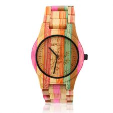Bewell Ladies Wooden Full Bamboo Quartz Watch - Multicolour