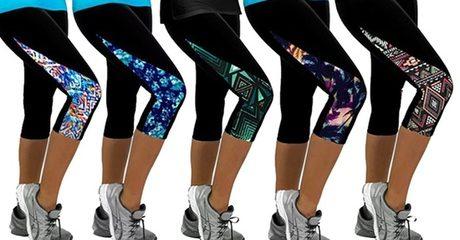Print Panel Sports Capri Leggings