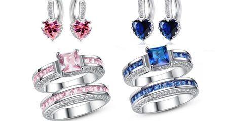 Lab-Created Sapphire Jewellery Set