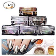 Mlmsy 6 Color Box Powder Pigment Nail Glitter Nail Art Chrome with Matching Brushes - 6 Color