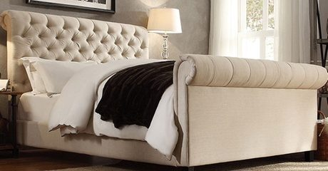 Oxford Rolled Top-Tufted Sleigh Bed