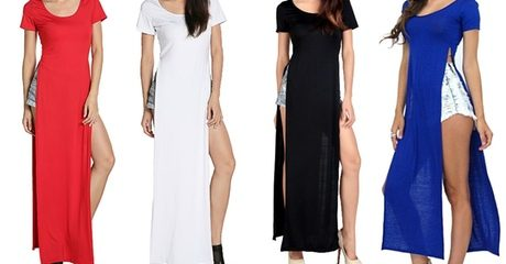 High-Split T-Shirt Maxi Dress