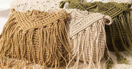Fringed Crochet Zipped Bag