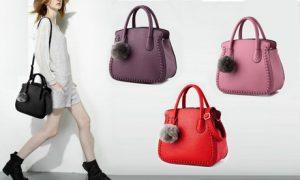 Shoulder Bag with Pom-Pom Detail