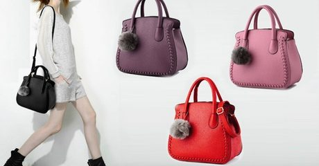 Shoulder Bag with Pom-Pom Detail