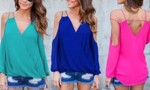 Long Sleeve Cold Shoulder Blouse