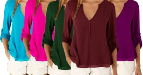 Summer V-Neck Chiffon Blouse