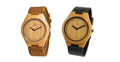 Bamboo and Leather Watch