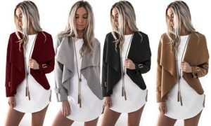 Buckle Sleeve Waterfall Jacket