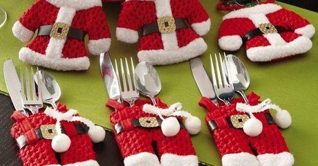 Christmas Silverware Holder Set