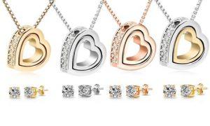 Heart Set with Swarovski Crystals