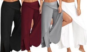 High-Split Wide Leg Trousers