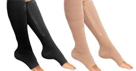 Knee-High Zip Compression Socks