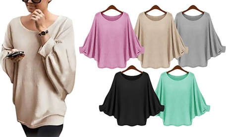 Batwing-Sleeve Sweater