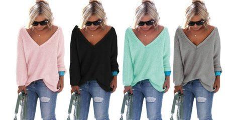 Women's Oversized V-Neck Sweater