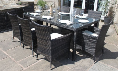 Eight Seater Rattan Garden Furniture Dining Set For Aed