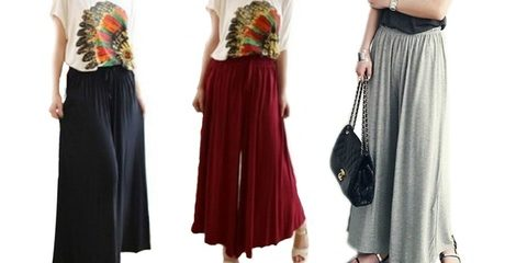 Wide-Leg Casual Culottes Pants