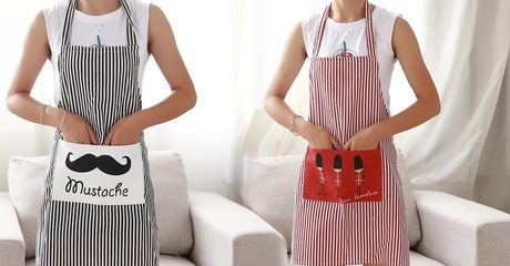 Linen Stripes Kitchen Apron