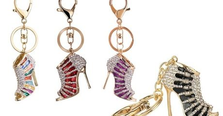 High-Heel Rhinestone Key Ring